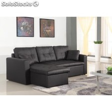 Chaise longue sof cama toledo piel synderme negro for Sofa cama chaise longue piel