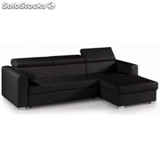 Chaise longue sofá cama ToledoXL, piel synderme negra L28