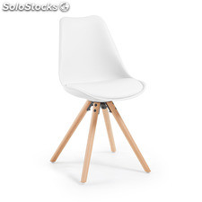 Chaise Ralf, naturel et blanc