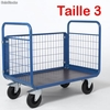 Chariot manutention 3 cotes grillagees 1200 x 800 mm