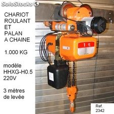 Chariot roulant combine palan a chaine 1.000 kg hhdd-h1.0-220v