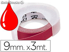 Cinta dymo 9mm x 3mt roja -