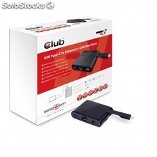 CLUB3D - Mini Dock usb Type-c to Ethernet + USB3.0 + usb Type c for Charging