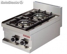Cocina industrial a gas 2 fuegos de 3,6 + 3,6kw 400x600x265h mm GC604 ARISCO
