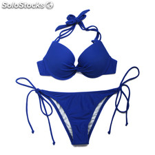 Colloyes nuevo atractivo azul real Add-2-Cups Halter Top Bikini Set de baño con