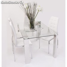 Conjunto de comedor Basic con mesa rectangular y 4 sillas Polipiel - Color -