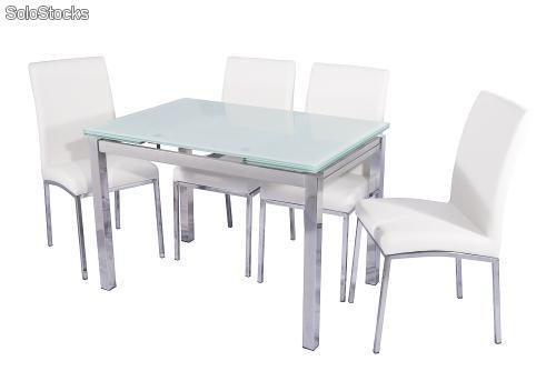 Conjunto mesa extensible y 4 sillas de comedor color blanco for Sillas plasticas comedor