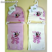 Conjunto minnie mouse gorro y bufanda color blanco talla 44