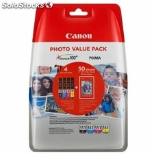 Consumible CANON 6508B005 cartucho CLI-551 multipack (negro + 3 colores) + papel