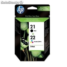 Consumible hewlett packard hp SD367AE pack cartuchos Negro+Tricolor HP21+HP22