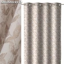 Cortina jacquard leaves poliester beige 140x260cm