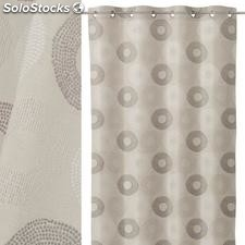 Cortina jacquard points poliester taupe 140x260cm