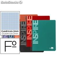 Cuaderno espiral fº 2mm con margen 80h 60grs tapa dura inspire liderpapel 3