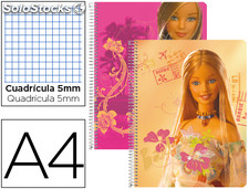 Cuaderno espiral liderpapel microperforado A4 80H cuadro 5MM 6 taladros barbie