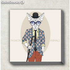 Cuadro de tela fashion animals hipster - mil cuadros - 9814000000240 - VF140