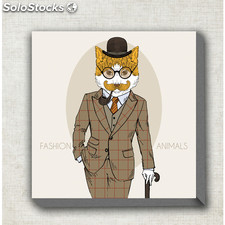 Cuadro de tela fashion animals mustache cat - mil cuadros - 9814400000244 -
