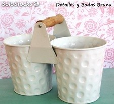 Cubo Blanco Doble. Cubos metal comunion, candy bar, boda, fiestas
