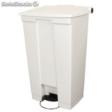 Cubo con pedal rubbermaid blanco código -0k956 color blanco. capacidad 87 litros