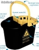 Cubo escurridor rectangular negro caution 13.5 l.