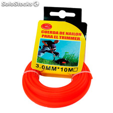 Cuerda de nylon para trimmer 10m x 3mm naranja