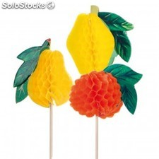 Decoration glaces - fruits 10 cm alt. Assorti bois