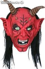Devil latex mask with hair