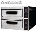 Digital electric pizza oven - mod. basic 66/d - twin deck oven - firebrick oven