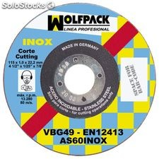 Disco Wolfpack Inoxidable 115x1,6x22,2 mm.