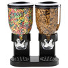 Dispensador de Cereal Negro, recipiente de plástico doble capacidad de 3,5 lt