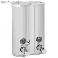 Dispenser lujo gel & champu 2x500 ml. 13x6,5x20 cm plateado inox