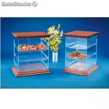 Display acrylique patisserie - couvercle bois 39x29,5x49 cm transparent