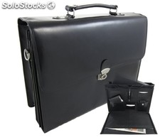 Document Bag Black Cowhide Leather