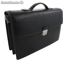 Document Bag Cowhide Leather Black