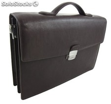 Document Bag Cowhide Leather Brown