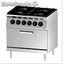 Double crown gas cooker n. 4 burners with gn 2/1 static electric oven - mod.