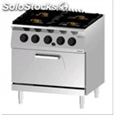 Double crown gas cooker n. 4 burners with gn 2/1 static gas oven - mod.