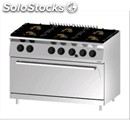 Double crown gas cooker n. 6 burners with gn 2/1 maxi static gas oven - mod.