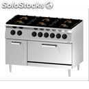Double crown gas cooker n. 6 burners with gn 2/1 static electric oven - mod.