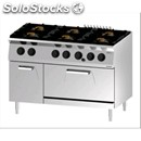 Double crown gas cooker n. 6 burners with gn 2/1 static gas oven - mod.