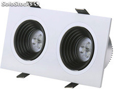 Downlight KSS cuadrado doble 6 w., acabado blanco, 172 x91 x 55mm. blanco luz