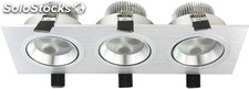 Downlight KSS cuadrado triple 9 w. 250 x 91 x 55 mm. blanco frio