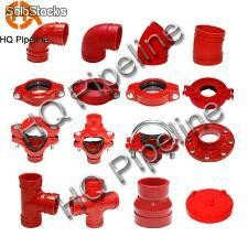 Ductile iron grooved pipe fittings and grooved couplings