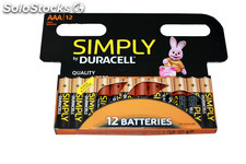 Duracell alcalina simple AAA (LR03) paquete de 12 pilas