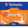 Dvd-r verbatim advanced azo 16x 4.7gb 5 unidades