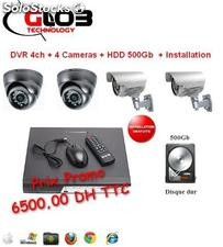 Dvr 4ch + 4 Cameras + hdd 500Gb + installation