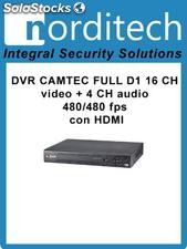 Dvr camtec full d1 16 ch video + 4 ch audio 480/480 fps con hdmi