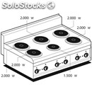 Electric boiling top - mod. pc/10et - n. 6 round plates - three phase -