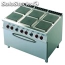 Electric cooker - mod. cfq6/912etv - n. 6 square plates - gn 2/1 electric static