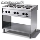 Electric cooker - mod. n76q - n. 6 round plates - open cupboard - dimensions cm