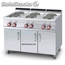 Electric cooker - mod. pc/712et - n. 6 round plates - open cupboard -